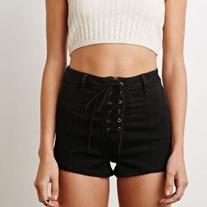 Forever 21 Black High waist Lace Up Shorts Size M
